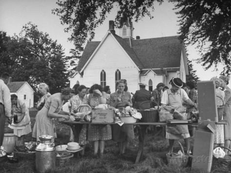 bob-landry-women-preparing-for-the-church-picnic
